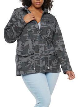 Plus Size Camo Drawstring Anorak Jacket - 1886051065461