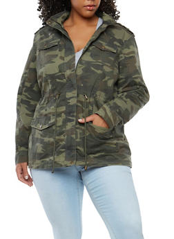 Plus Size Camo Drawstring Anorak Jacket - 1886051065461