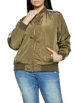 Plus Size Contrast Trim Bomber Jacket - 1886051065536
