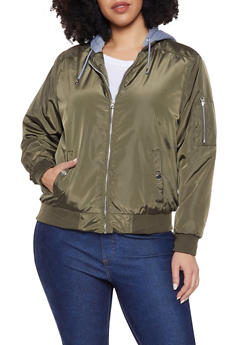 Plus Size Sweatshirt Hood Bomber Jacket - 1886051066055