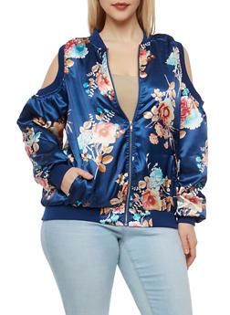 Plus Size Floral Cold Shoulder Bomber Jacket - 1886051066295
