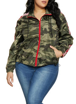 Plus Size Camo Queen Tape Windbreaker - 1886051066467