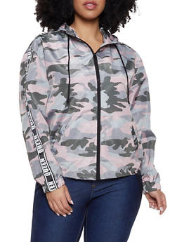 fcfedb23e5f Plus Size Camo Queen Tape Windbreaker - MAUVE - 1886051066467