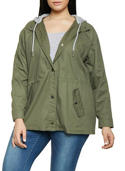 45a47ba86c1 Plus Size Camo Striped Tape Anorak Jacket.  26.99. Plus Size Contrast Hood Anorak  Jacket - 1886051066987