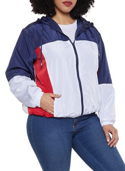 Plus Size Hooded Color Block Windbreaker Jacket - 1886051067133