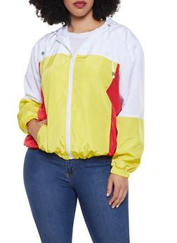 Plus Size Hooded Color Block Windbreaker Jacket - 1886051067133