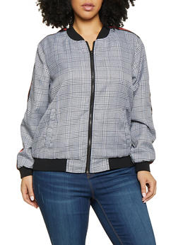 60805e01f40 Plus Size Striped Tape Plaid Bomber Jacket - 1886051067184
