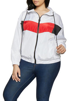 Plus Size Color Block Windbreaker | 1886051067192 - 1886051067192
