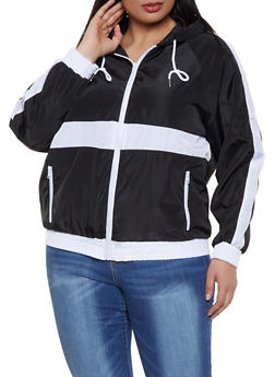 Plus Size Color Block Windbreaker Jacket - BLACK - 1886051067194