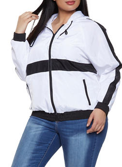 Plus Size Color Block Windbreaker Jacket - WHITE - 1886051067194