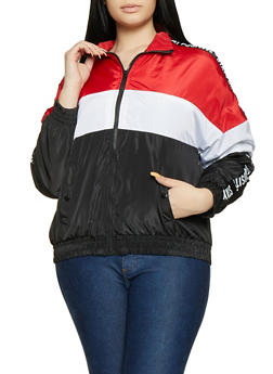 Plus Size Stay Positive Tape Trim Windbreaker - 1886051067229
