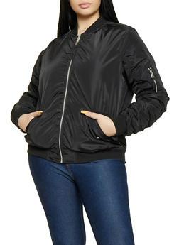 Plus Size Ruched Zipper Sleeve Bomber Jacket - 1886051067232