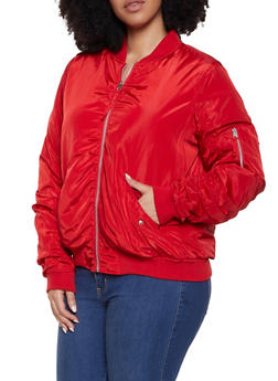 Plus Size Ruched Zipper Sleeve Bomber Jacket - 1886051067232