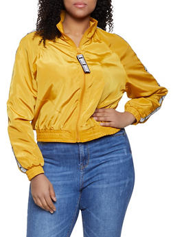 Plus Size Queen Graphic Trim Windbreaker - 1886051067260