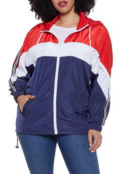 Plus Size Color Block Striped Tape Windbreaker Jacket - 1886051067316