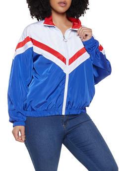 Plus Size Chevron Detail Windbreaker Jacket - 1886051067317