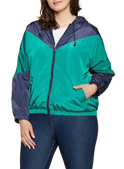 Plus Size Chevron Color Block Windbreaker - 1886051067362