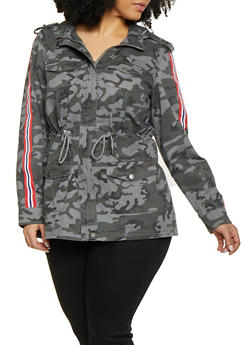 Plus Size Camo Striped Tape Anorak Jacket - 1886051067375