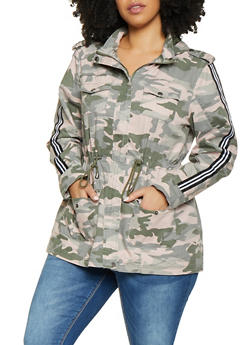 1464084d38e Plus Size Camo Striped Tape Anorak Jacket - 1886051067375