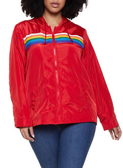 Plus Size Rainbow Stripe Windbreaker - 1886051067523