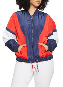 Plus Size Drawstring Hem Windbreaker - 1886051067535