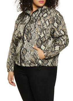 Plus Size Hooded Animal Print Windbreaker Jacket - 1886051067538