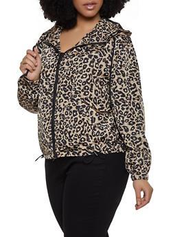 Plus Size Hooded Animal Print Windbreaker Jacket - 1886051067538