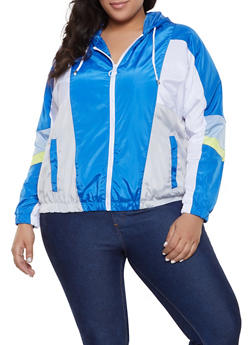 Plus Size Color Block Hooded Windbreaker Jacket - 1886051067543