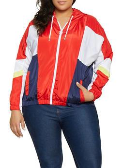 Plus Size Color Block Hooded Windbreaker Jacket - 1886051067543