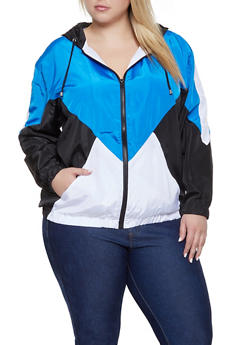 Plus Size Color Block Hooded Windbreaker - 1886051067544