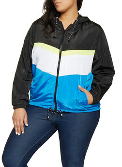 Plus Size Color Block Windbreaker Jacket | 1886051067545 - 1886051067545