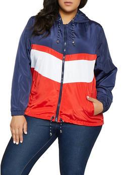 Plus Size Color Block Windbreaker Jacket | 1886051067545 - 1886051067545