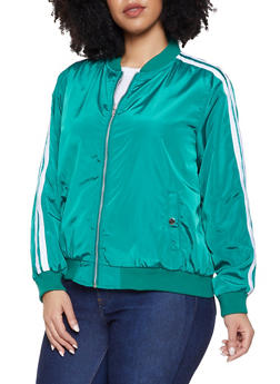 Plus Size Varsity Stripe Bomber Jacket - 1886051067644