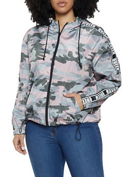 0703e50cdee Plus Size Queen Tape Camo Windbreaker - 1886051067646