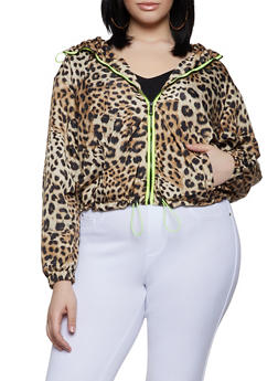 Plus Size Animal Print Neon Trim Windbreaker - 1886051067686