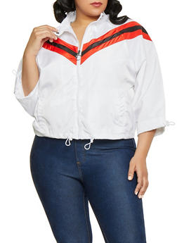 Plus Size Drawstring Hem Windbreaker Jacket - 1886051067713
