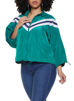 Plus Size Drawstring Hem Windbreaker Jacket - 1886051067713