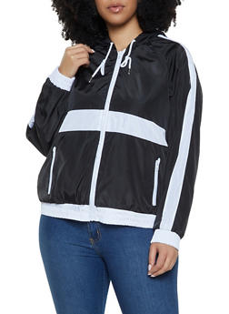 Plus Size Color Block Windbreaker Jacket - 1886051067714