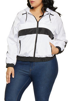 0cb482970f3 Plus Size Color Block Windbreaker Jacket - 1886051067714