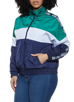 Plus Size Tri Tone Graphic Tape Windbreaker - 1886051067722