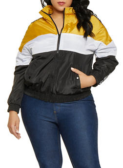 ebd9cb139d6 Plus Size Tri Tone Graphic Tape Windbreaker - 1886051067722