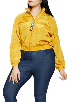 Plus Size Queen Tape Windbreaker Jacket - 1886051067726