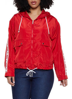 Plus Size Love Star Graphic Tape Windbreaker - 1886051067737