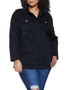 Plus Size Lightweight Twill Jacket - 1886051067909