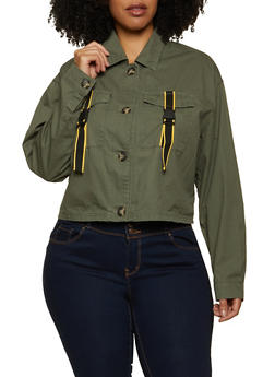 Plus Size Buckled Pocket Twill Jacket - 1886051067913