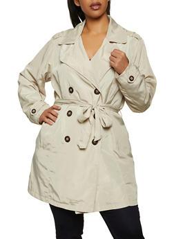 Plus Size Nylon Trench Coat - 1886051068015