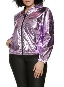 Plus Size Hooded Foiled Windbreaker Jacket - 1886051068043