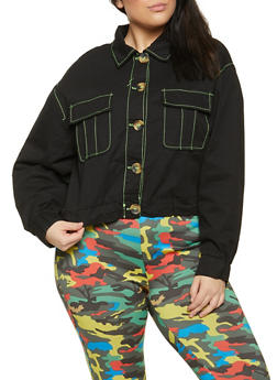Plus Size Twill Cargo Jacket - 1886051068110