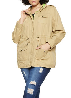 Plus Size Twill Anorak Jacket - 1886051068128