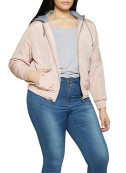 Plus Size Hooded Bomber Jacket - 1886051068739